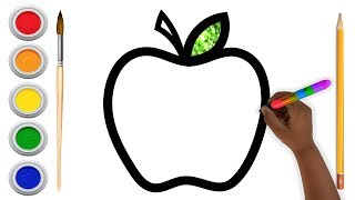 Glitter Apple Coloring and Drawing for Kids , Toddlers , Aysha drawing for Kids