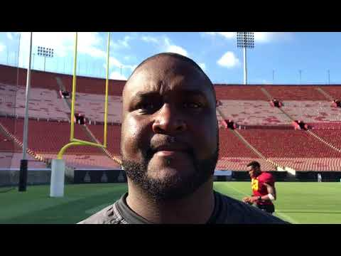 USC OC Tee Martin after Fall Practice No. 14 at the Coliseum