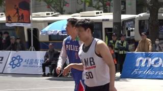 제 1회 서울 광화문 길거리 농구대회 A코트 8강 2경기 LB POLICE vs AMB 후반전