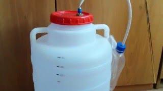 Емкость для сахарной браги с водяным затвором