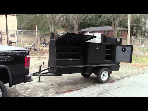 Grill Master Barn Door Street Vendor Competition BBQ Smoker Trailer Food Truck