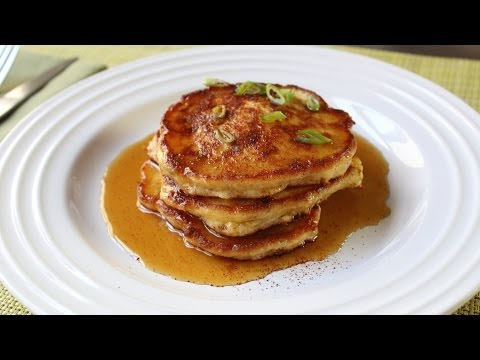Mancakes - Bacon, Green Onion, & Cheddar Corn Pancakes Recipe - Father's Day Brunch