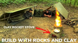 Overnight Shelter Building Using Clay and Rocks With My Son and Bacon Stuffed Mushrooms