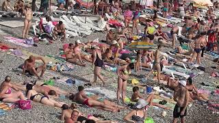Лазаревское Сочи Пляж Ожидается Сильный Шторм(4К полный экран)