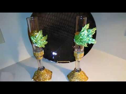 DIY 3D Floral Bling Wine Glass