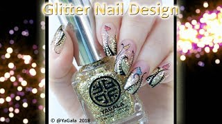 Glitters nails / Простой абстрактный дизайн