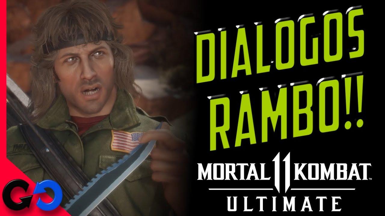 Mortal Kombat 11 Ultimate TODOS los DIALOGOS de Rambo en ESPAÑOL Latino!