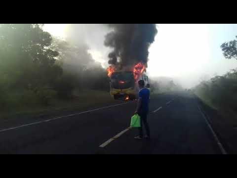 Ônibus pega fogo com alunos dentro em Alto Longá