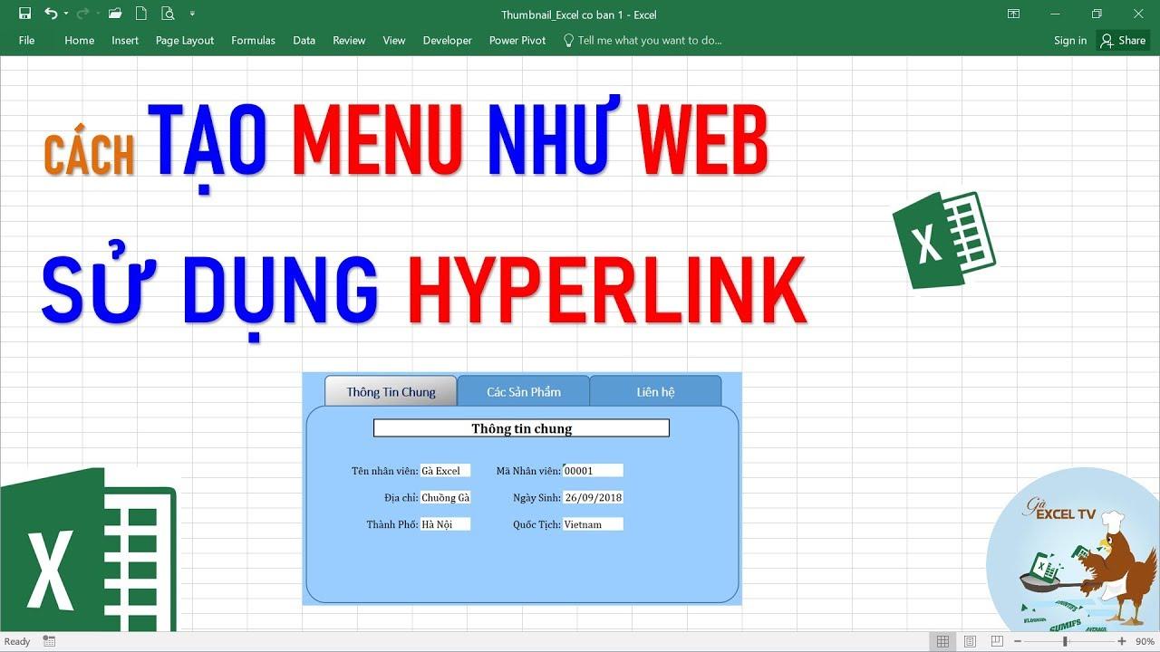 Hướng dẫn tạo menu như Web sử dụng hyperlink trong Excel
