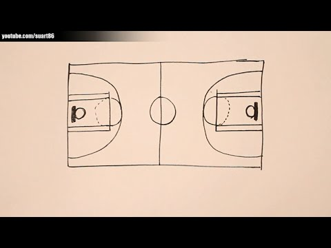 How to draw a basketball court - YouTube
