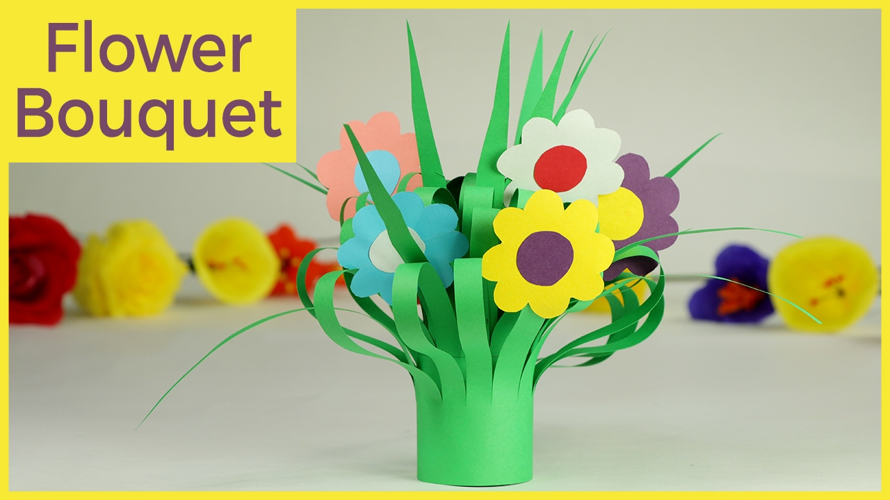Kids Crafts Paper Flower Bouquet Easy Step By Step Tutorial Youtube