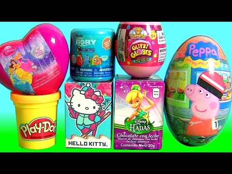 TOYS SURPRISE Glitzi Globes Disney Princess Peppa Pig Hello Kitty Play Doh Egg Surprise Hadas Elsa