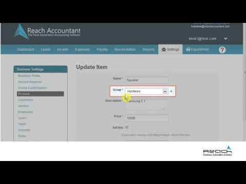 Business settings - Reach Accounting software's First Function
