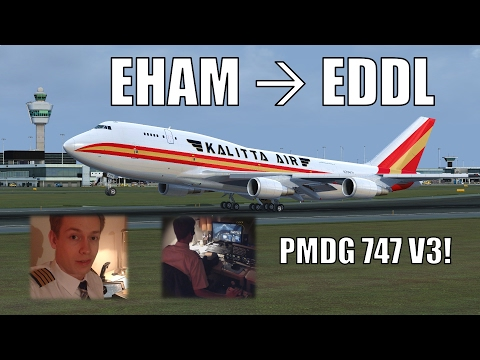 ✈️👨‍✈️ VATSIM Full Flight: NEW PMDG 747 V3 - Amsterdam to Düsseldorf! FULL ATC! [P3D] [2017]