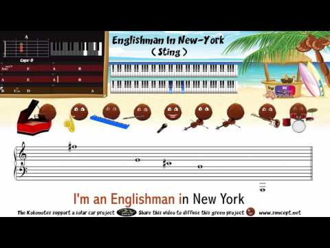 How to play : Englishman In New York (Sting) - Tutorial / Karaoke / Chords / Score / Cover