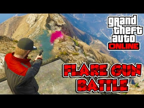 Grand Theft Auto 5 Online PC Funny Moments - FLARE GUN BATTLE!