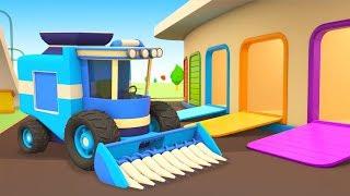 Vehículos de servicio recogen la cosecha. Dibujos para niños. Caricaturas de coches.