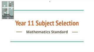 Mathematics Standard 1 and 2