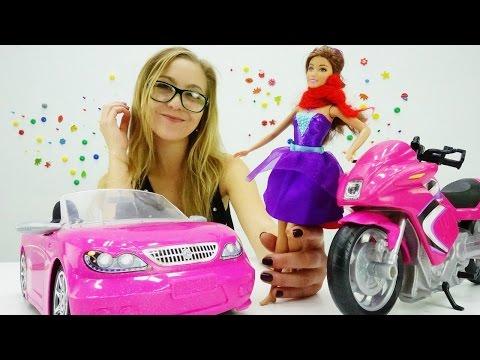 Игры для девочек Кукла БАРБИ: Барби машина или Барби мотоцикл едем в салон машин