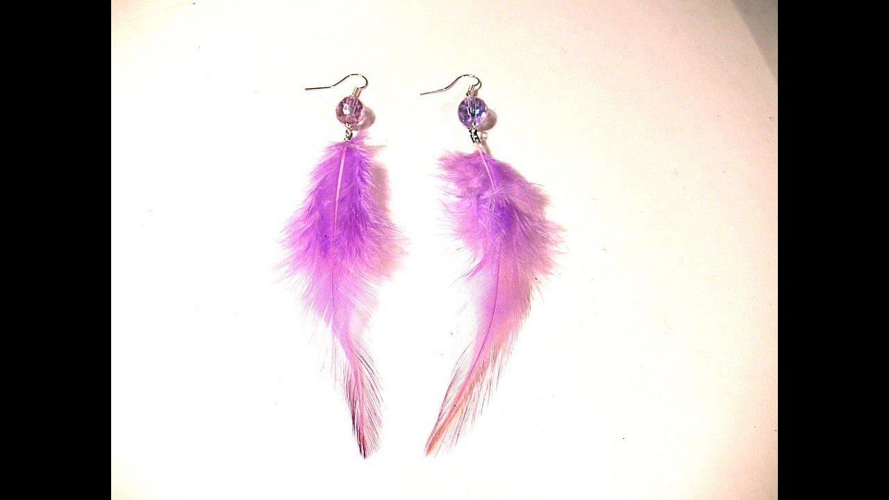 Abalorios manualidades pendientes con plumas youtube for Manualidades con plumas