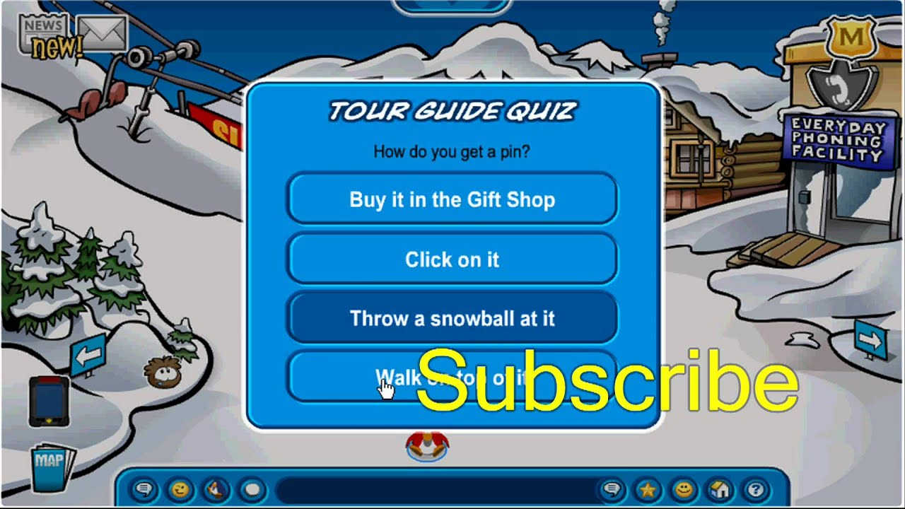 All Tour Quiz Answer In Club Penguin