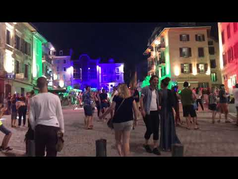 Really cool outdoor disco party in Evian, France
