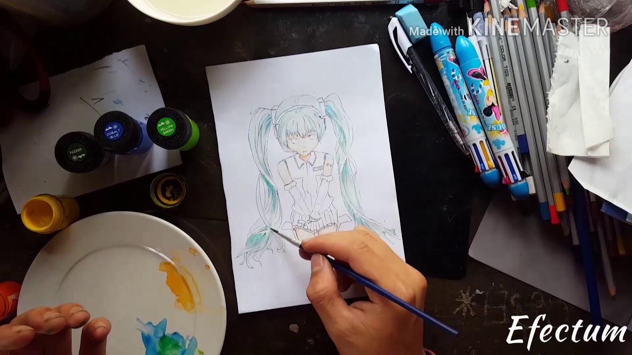 Vẽ miku 3d đơn giản từ dựng hình lẫn tô màu