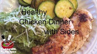 A  HEALTHY Meal from start to finish (Chicken breast, pesto spaghetti squash, & zucchini)