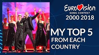 Eurovision 2000-2018 - My Top 5 from Each Country