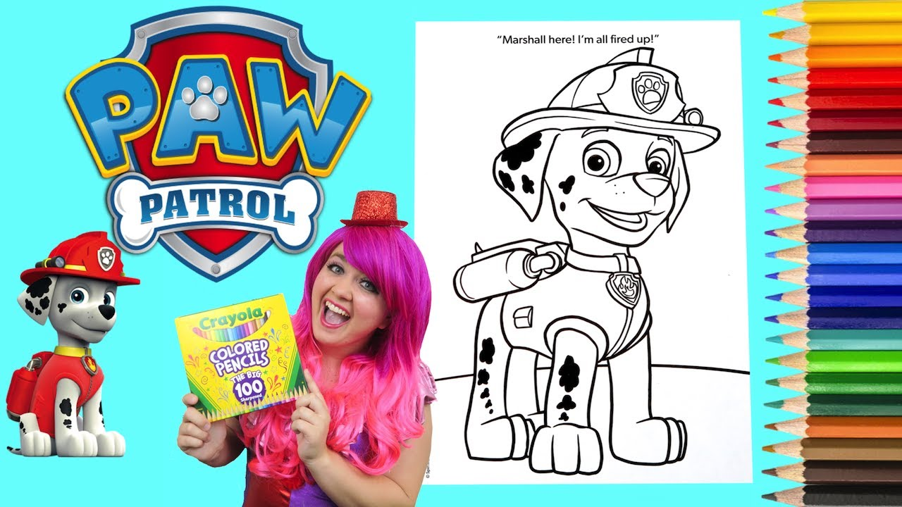 Coloring Marshall Paw Patrol Coloring Book Page Crayola Colored