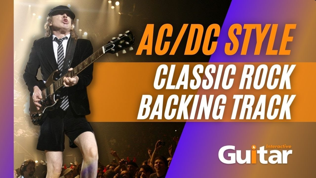 AC/DC Style   Classic Rock Guitar Backing Track in D   128 BPM