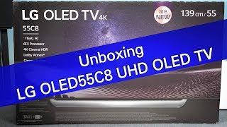 LG OLED55C8 UHD OLED TV unboxing and setup