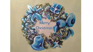 Process of Painting: Blue Christmas Wreath