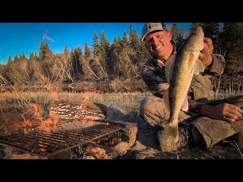 WALLEYE over Camp Fire on REMOTE ISLAND {Catch Clean Cook}