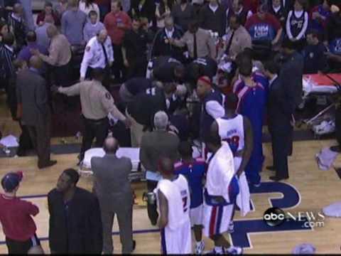 !!NBA PLAYER DETROIT PISTON 'RODNEY STUCKEY' COLLAPSES ON SIDELINES!!