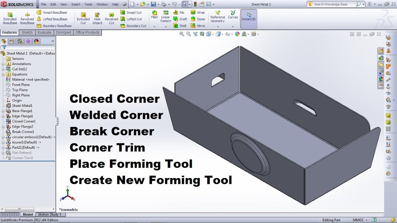 SolidWorks Sheet Metal Tutorial for Beginner - 2 | Closed Welded & Break  Corner Trim, Forming Tool