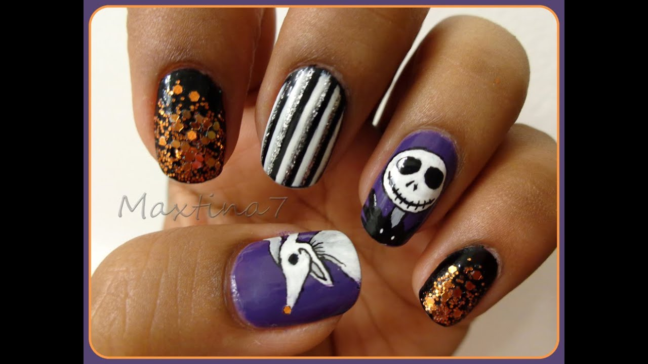 Nightmare Before Christmas Nail Art - YouTube