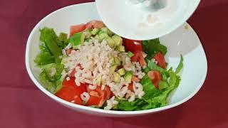 Салат с креветками и авокадо Вкусный и легкий салатик без майонеза