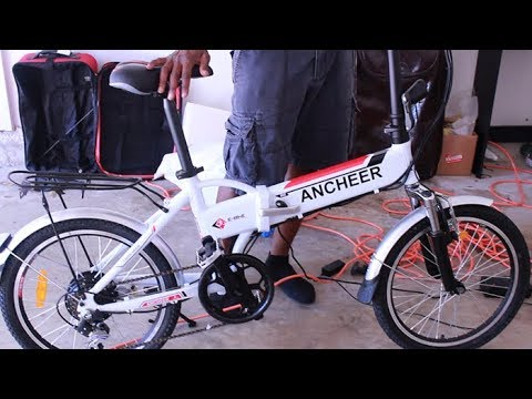 "Electric Bike E-Bike FOR $500 - ANCHEER 20"" Folding Bike - Unboxing Assembly and Test Ride - Ebay"
