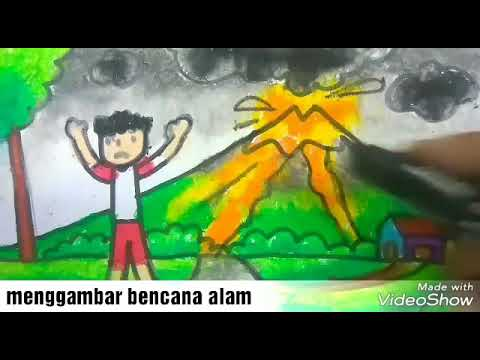 Cara menggambar bencana gunung meletus   how to draw volcano ...