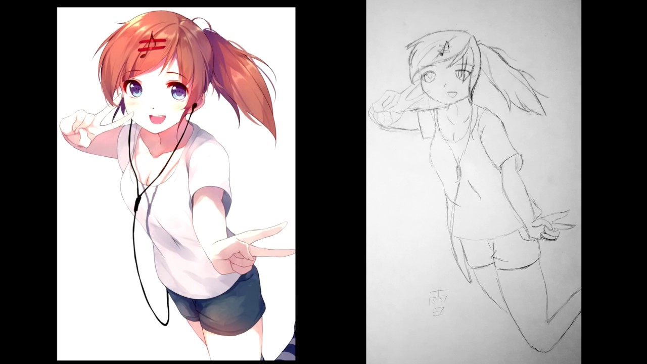 Anime Girl Speed Drawing (Hands are hard)