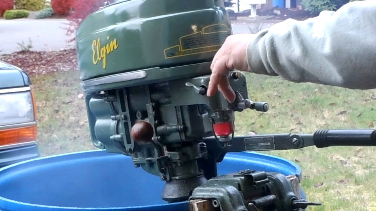 1952 elgin 5hp outboard cold start and run doovi for Best way to store an outboard motor