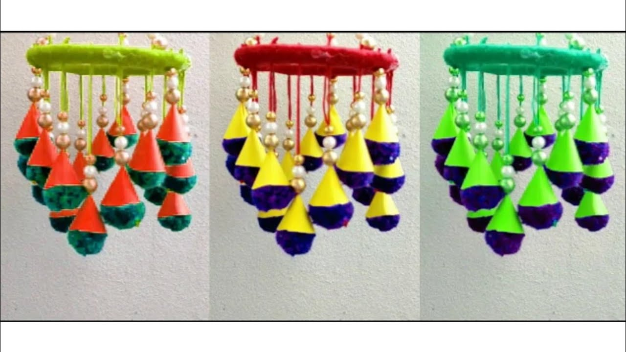 Awesome Jhumer making ideas// Pearls and wool chandelier design// Amazing Wind chime from pearl