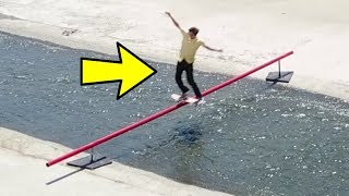 One of Chris Chann's most viewed videos: SKATING A 28 FT RAIL OVER THE LA RIVER