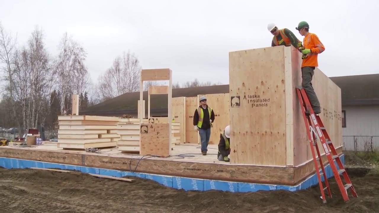 Building with alaska insulated panels sips on site youtube for Styrofoam house construction