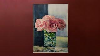rose drawing watercolor