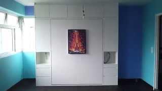 Hdb Bto 3rm Fajar Spring Hwb-queen +side&topcabinets.hiddenwallbed.ec.dbss.space Saving Bed