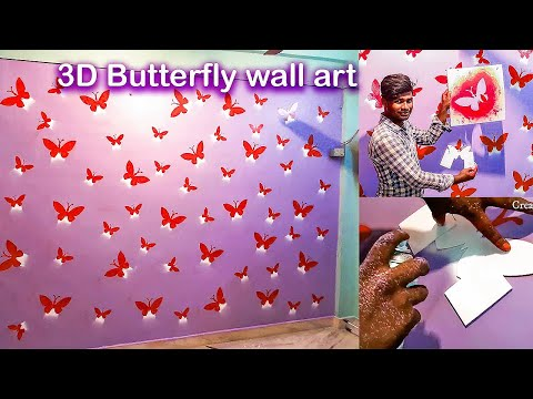 Awesome and Easy DIY Wall Art Spray painting Ideas | Flying Butterfly