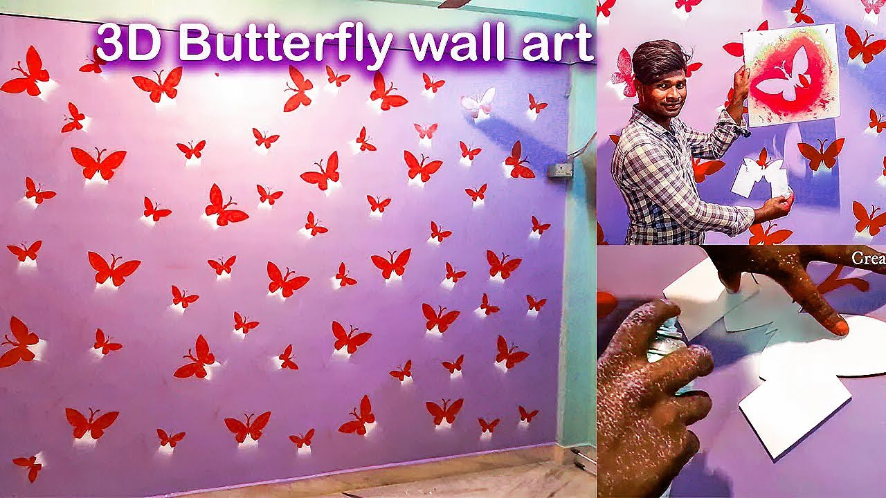 Butterfly Designs On Wall How To Youtube