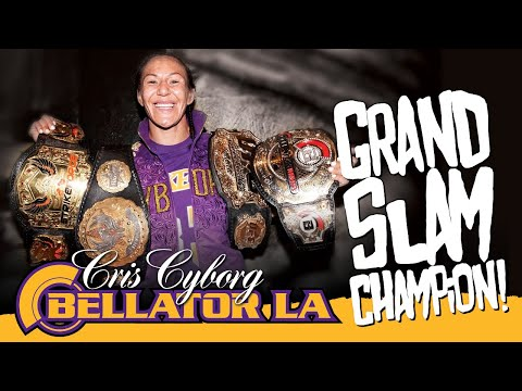 Cris Cyborg becomes the first Grand Slam Champion in MMA; Strikeforce, Invicta, UFC, Bellator Belts